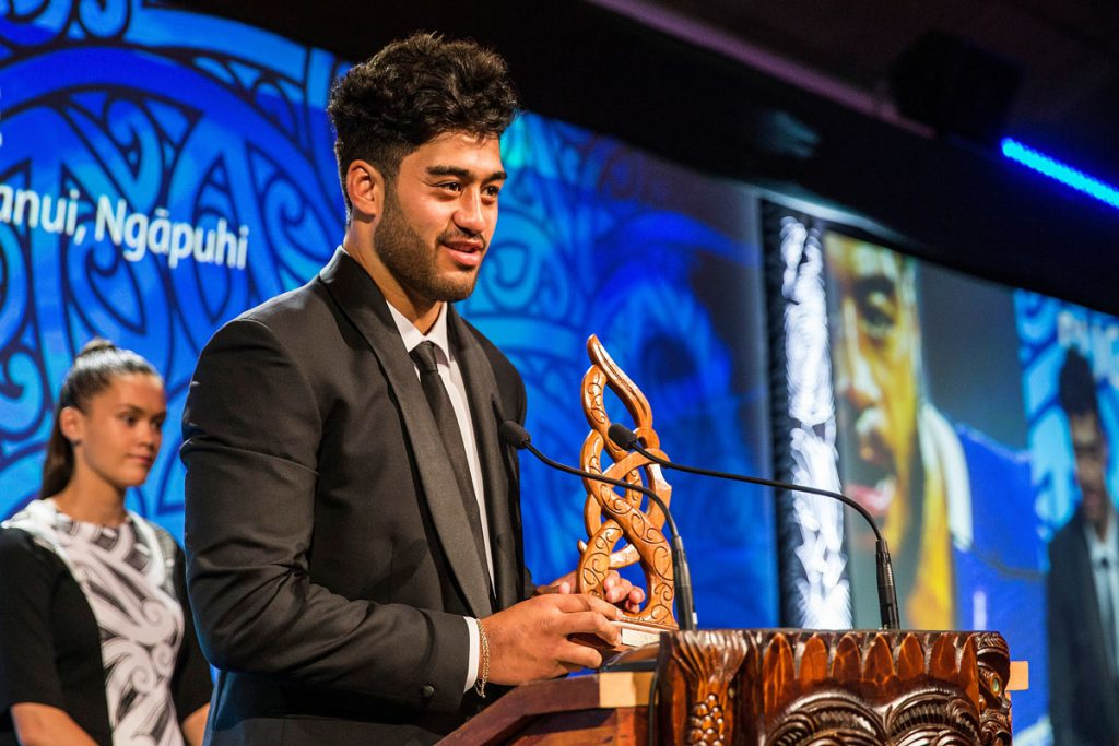 Akira Ioane, (Te Whanau-a-Apanui, Ngapuhi), Rugby receives the Junior Maori Sportsman Award at the Trillian Trust Maori Sports Awards, Turangawaewae Marae, River Road, Ngaruawahia, Saturday, November 28, 2015. Copyright photo: David Rowland / www.photosport.nz