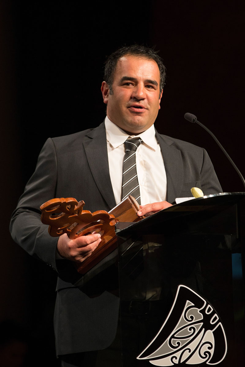 Maori Sports Coach is awarded to Stacey Jones at the Maori Sports Awards 2014, Vodafone Events Centre, Manukau, Auckland, New Zealand, Saturday, November 29, 2014. Photo: David Rowland/Photosport