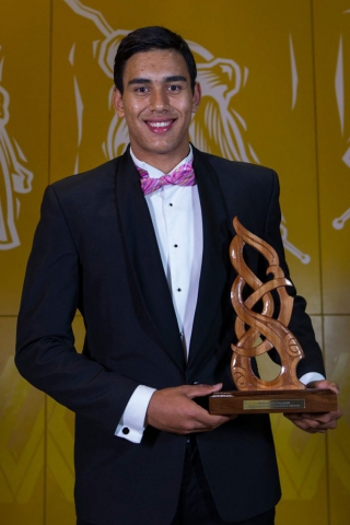 Junior Maori Sportsman was awarded to Tai Hikuroa Wynyard at the Maori Sports Awards 2014, Vodafone Events Centre, Manukau, Auckland, New Zealand, Saturday, November 29, 2014. Photo: David Rowland/Photosport