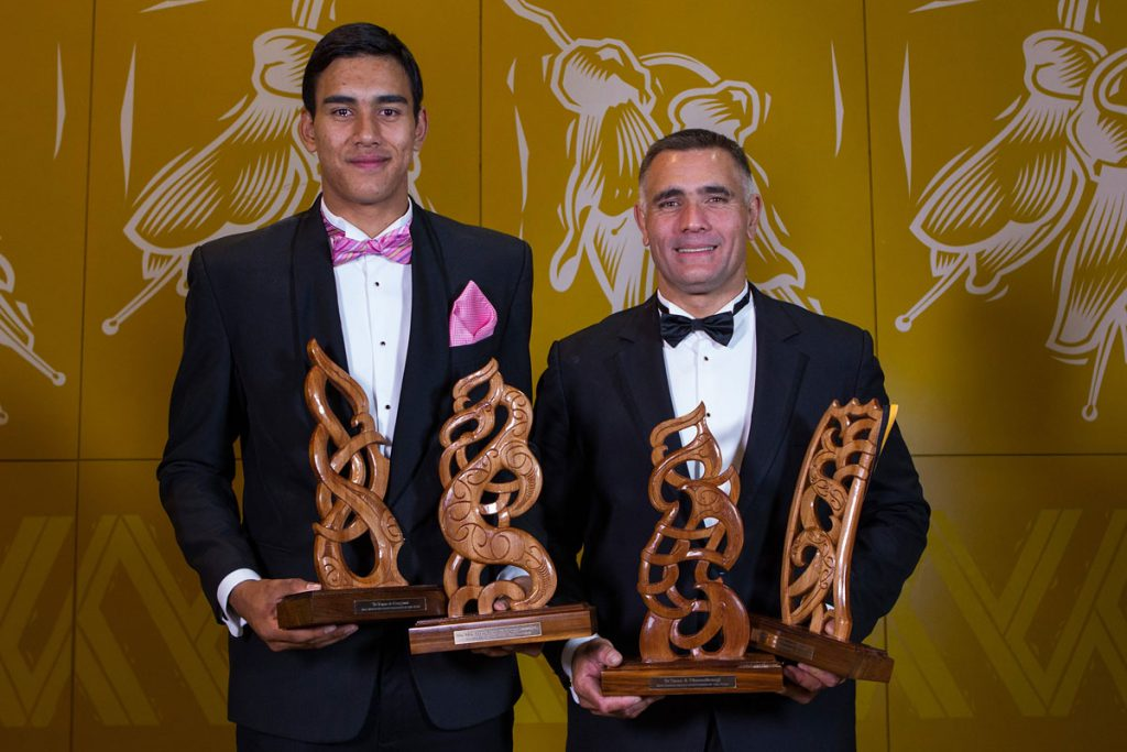 Father and son, Tai and Jason Wynyard  with the  joint award Albie Pryor Memorial Maori Sportsperson of the Yearand the Junior Maori Sportsman (Tai)  and Senior Maori Sportsman (Jason)  at the Maori Sports Awards 2014, Vodafone Events Centre, Manukau, Auckland, New Zealand, Saturday, November 29, 2014. Photo: David Rowland/Photosport