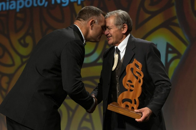 Jason Wynyard receives the Albie Pryor Memorial Maori Sportsperson of the Year from the Maori King Kiingi Tuheitia at the Maori Sports Awards 2014, Vodafone Events Centre, Manukau, Auckland, New Zealand, Saturday, November 29, 2014. Photo: David Rowland/Photosport