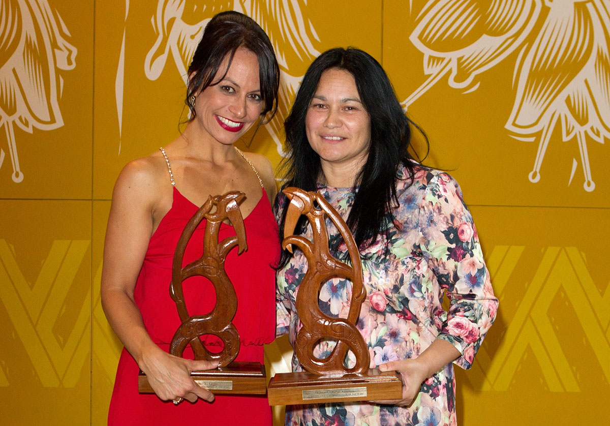 Maori Sports Administrator was awarded jointly to Trina Tamati (L) and Heather Skipworth at the Maori Sports Awards 2014, Vodafone Events Centre, Manukau, Auckland, New Zealand, Saturday, November 29, 2014. Photo: David Rowland/Photosport