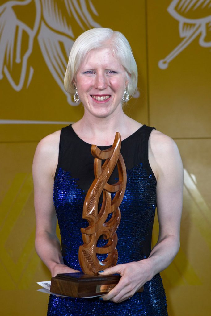 Disabled Maori Sports person was awarded to para-cyclist Emma Foy at the Maori Sports Awards 2014, Vodafone Events Centre, Manukau, Auckland, New Zealand, Saturday, November 29, 2014. Photo: David Rowland/Photosport