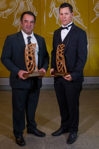 Stacey Jones (L) and Phillip Tataurangi are inducted into the Maori Sports Hall of Fame at the Maori Sports Awards 2014, Vodafone Events Centre, Manukau, Auckland, New Zealand, Saturday, November 29, 2014. Photo: David Rowland/Photosport