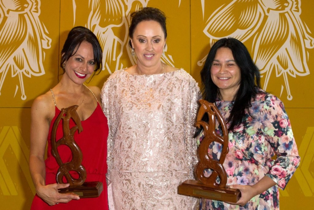 Maori Sports Administrator was awarded jointly to Rugby league Nines` Trina Tamati (L) and Iron Maori`s Heather Skipworth (R) by Tania Simpson (C) at the Maori Sports Awards 2014, Vodafone Events Centre, Manukau, Auckland, New Zealand, Saturday, November 29, 2014. Photo: David Rowland/Photosport
