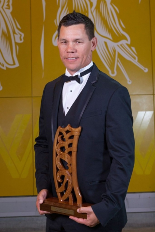 Golf`s Phillip Tataurangi is inducted into the Maori Sports Hall of Fame at the Maori Sports Awards 2014, Vodafone Events Centre, Manukau, Auckland, New Zealand, Saturday, November 29, 2014. Photo: David Rowland/Photosport