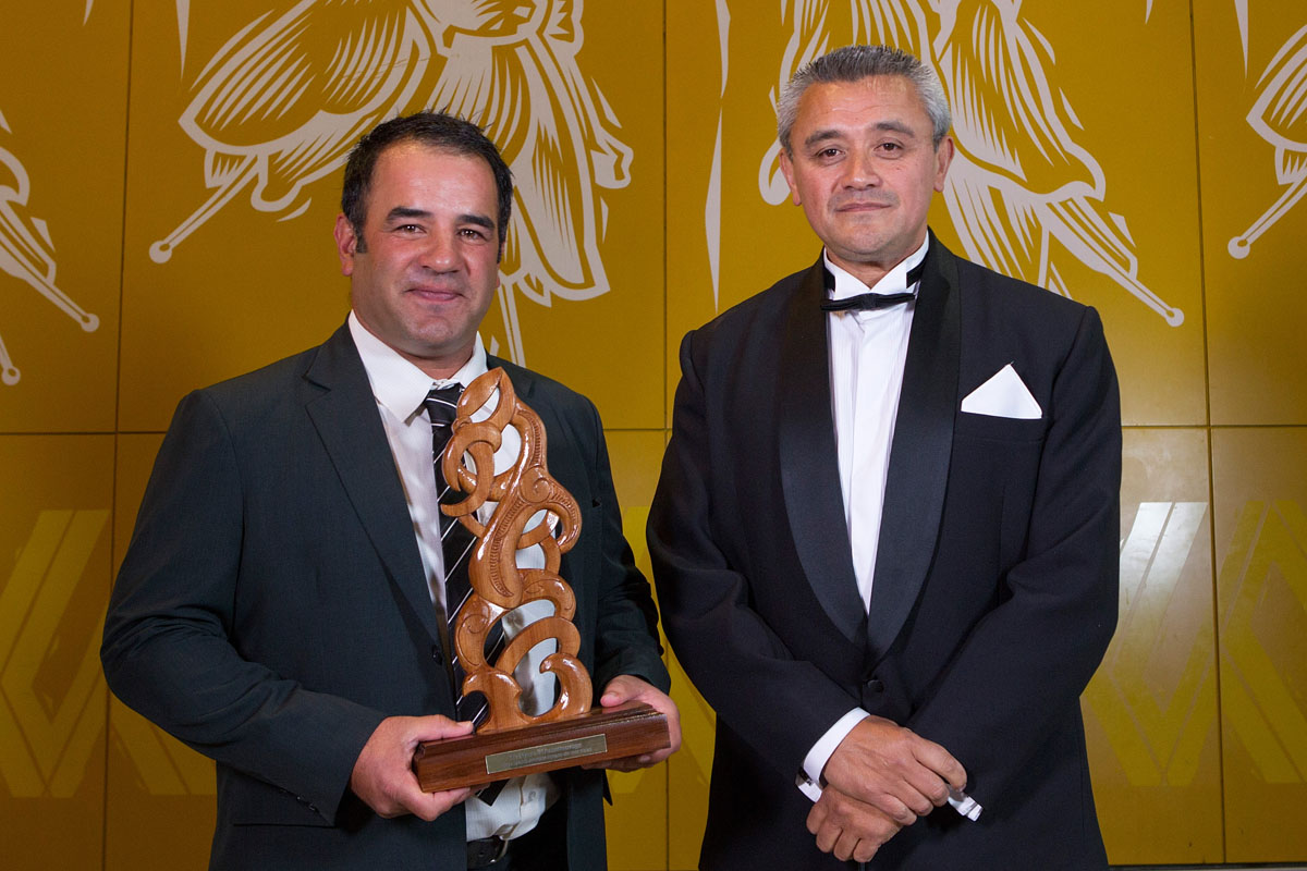 Maori Sports Coach is awarded to Rugby League`s Stacey Jones (L) by Jim Mather at the Maori Sports Awards 2014, Vodafone Events Centre, Manukau, Auckland, New Zealand, Saturday, November 29, 2014. Photo: David Rowland/Photosport