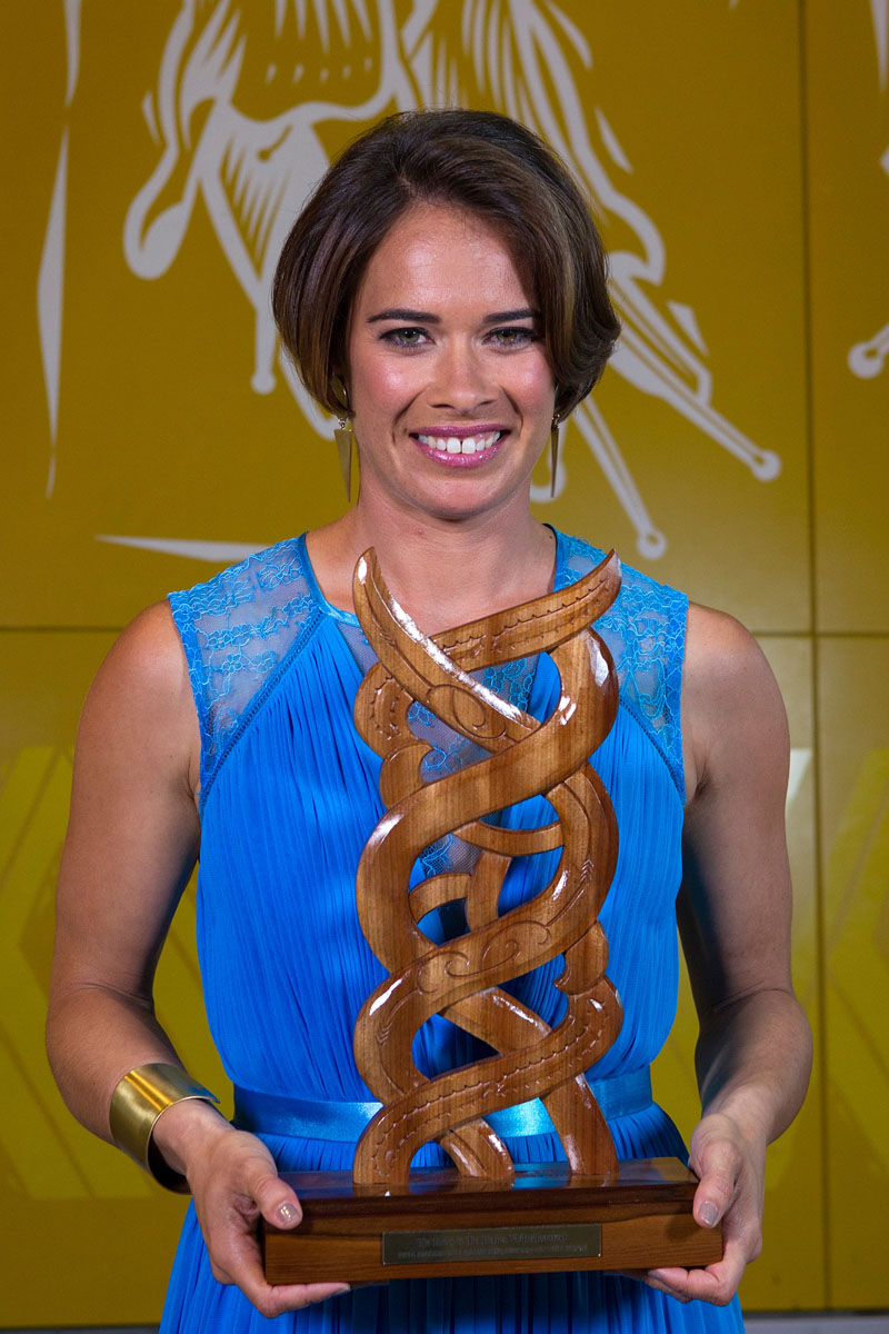 Maori Sports Media was awarded to Te Kaea Sports Reporter Rewa Harriman at the Maori Sports Awards 2014, Vodafone Events Centre, Manukau, Auckland, New Zealand, Saturday, November 29, 2014. Photo: David Rowland/Photosport