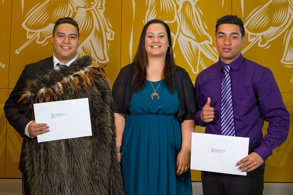 Maori Sports Award Scholarships (MIT) was awarded to Maihi Barbarich (L) and Clayton Strickland (R) by Dr Wahineata Smith (C) at the Maori Sports Awards 2014, Vodafone Events Centre, Manukau, Auckland, New Zealand, Saturday, November 29, 2014. Photo: David Rowland/Photosport