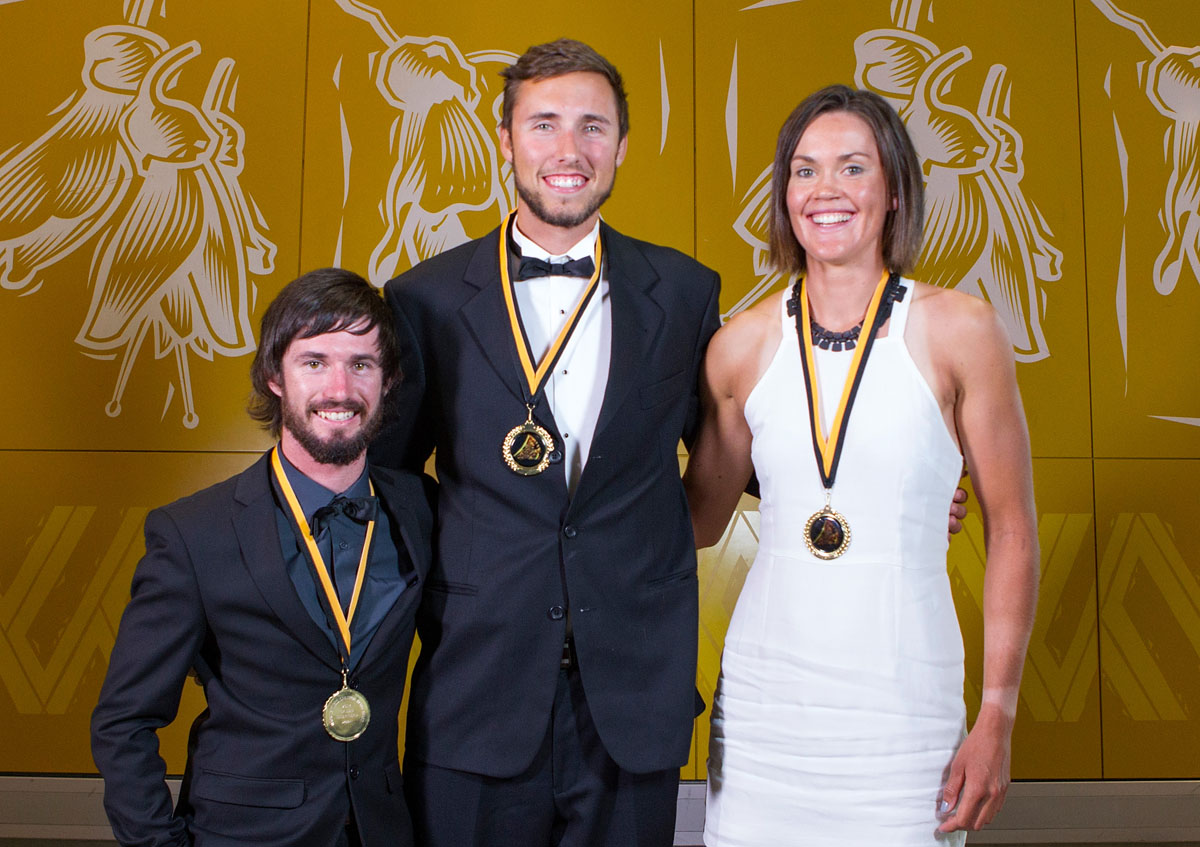 Auckland Council Maori in World Champions Award Winners Caleb Shepherd,  (L) Finn Howard and Fiona Bourke at the Maori Sports Awards 2014, Vodafone Events Centre, Manukau, Auckland, New Zealand, Saturday, November 29, 2014. Photo: David Rowland/Photosport