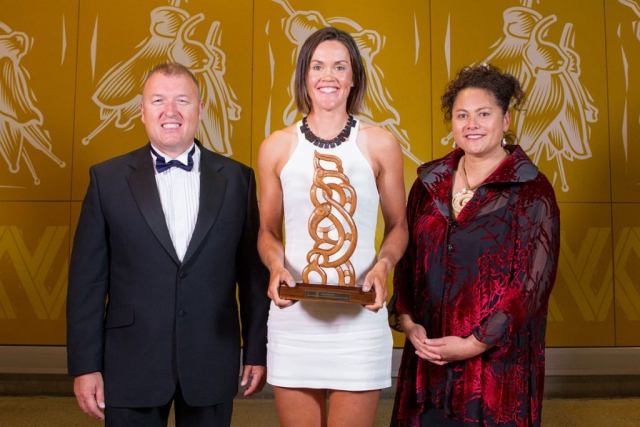 Senior Maori Sportswoman is awarded to rowing`s Fiona Bourke (C) by Fletcher`s Mark Leech and Louisa Wall at the Maori Sports Awards 2014, Vodafone Events Centre, Manukau, Auckland, New Zealand, Saturday, November 29, 2014. Photo: David Rowland/Photosport