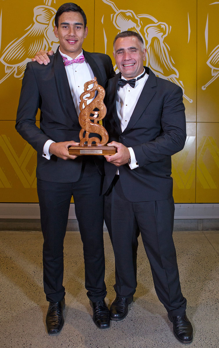Albie Pryor Memorial Maori Sportsperson of the Year was awarded to father and son, basketball`s Tai (L) and woodchopping`s Jason Wynyard at the Maori Sports Awards 2014, Vodafone Events Centre, Manukau, Auckland, New Zealand, Saturday, November 29, 2014. Photo: David Rowland/Photosport