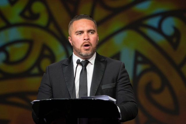Master of Ceremonies Te Arahi Maipi at the Maori Sports Awards 2014, Vodafone Events Centre, Manukau, Auckland, New Zealand, Saturday, November 29, 2014. Photo: David Rowland/Photosport
