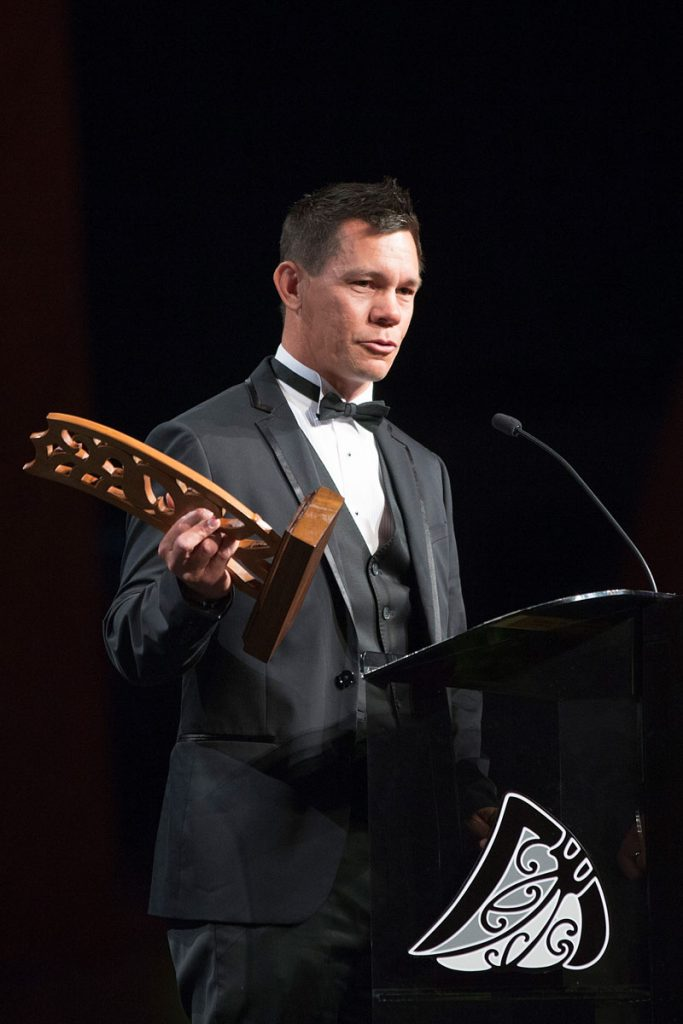 Phillip Tataurangi speaks after being inducted into the Maori Sports Hall of Fame at the Maori Sports Awards 2014, Vodafone Events Centre, Manukau, Auckland, New Zealand, Saturday, November 29, 2014. Photo: David Rowland/Photosport