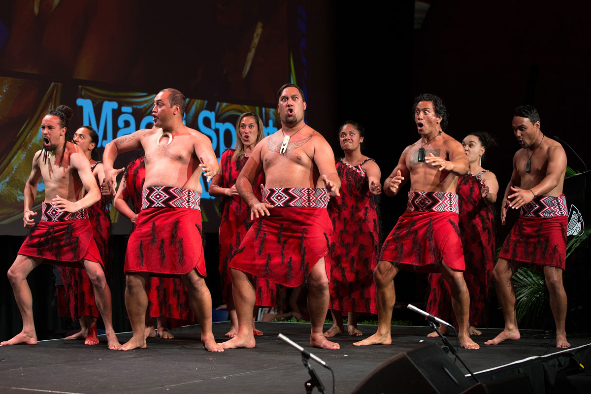 Entertainment Group Te Roopu o Te Whanau-a-Apanui perform a Haka at the Maori Sports Awards 2014, Vodafone Events Centre, Manukau, Auckland, New Zealand, Saturday, November 29, 2014. Photo: David Rowland/Photosport