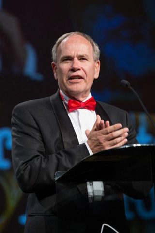 Auckland Mayor Len Brown speaks at the Maori Sports Awards 2014, Vodafone Events Centre, Manukau, Auckland, New Zealand, Saturday, November 29, 2014. Photo: David Rowland/Photosport