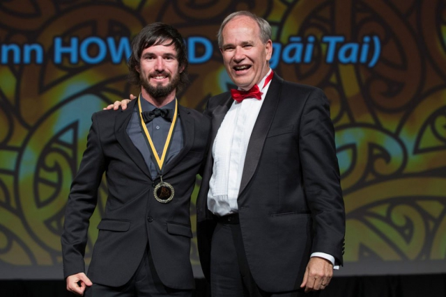 Auckland Mayor Len Brown presents the Auckland Council Maori in World Champions Award to rowing cox Caleb Shepherd (L) at the Maori Sports Awards 2014, Vodafone Events Centre, Manukau, Auckland, New Zealand, Saturday, November 29, 2014. Photo: David Rowland/Photosport