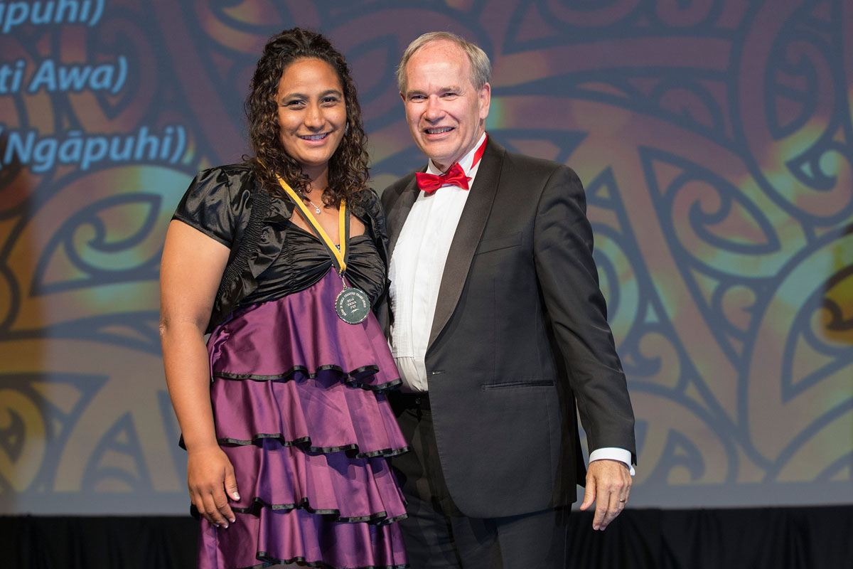 Auckland Mayor Len Brown presents the Auckland Council Maori in World Champions Award to rafting`s Dale Thomas (L) at the Maori Sports Awards 2014, Vodafone Events Centre, Manukau, Auckland, New Zealand, Saturday, November 29, 2014. Photo: David Rowland/Photosport