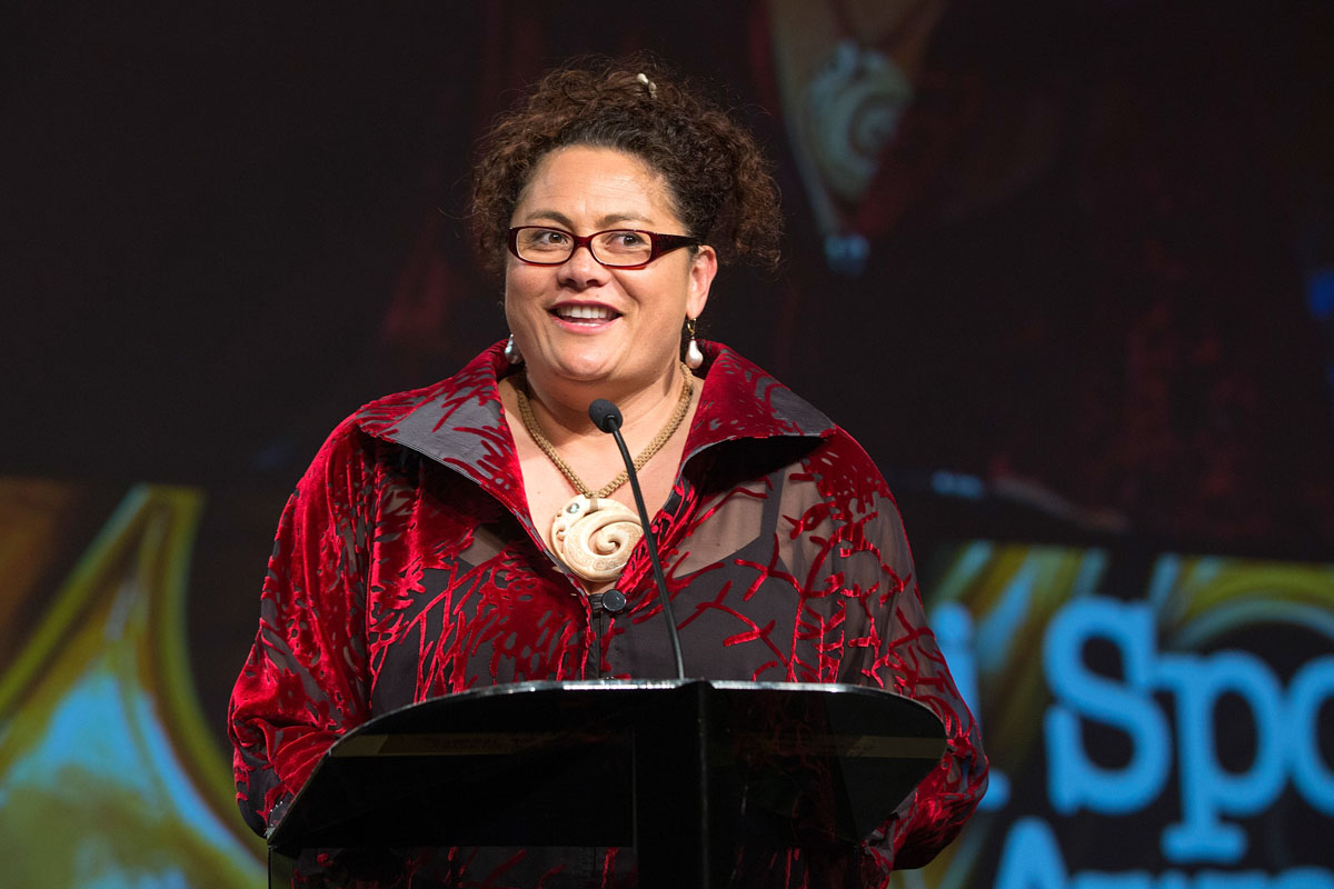 Louisa Wall  speaks at the Maori Sports Awards 2014, Vodafone Events Centre, Manukau, Auckland, New Zealand, Saturday, November 29, 2014. Photo: David Rowland/Photosport