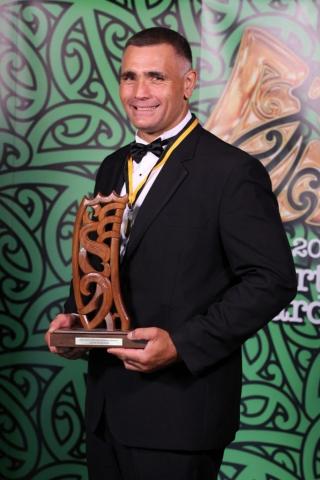 2013 Individual Maori World Champion wood chopper Jason Wynyard at the Trillian Trust Maori Sports Awards at Vodafone Events Centre, Manukau. Photo: Fiona Goodall/photosport.co.nz