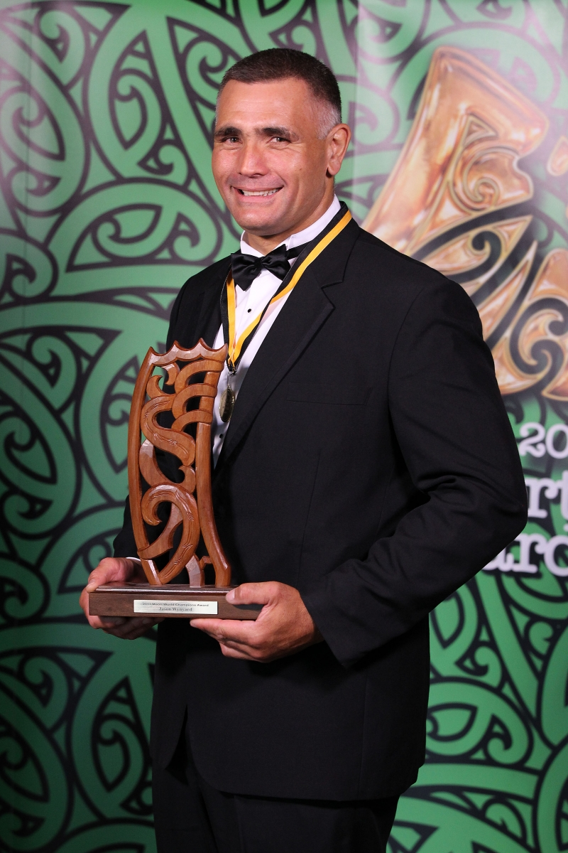 2013 Individual Maori World Champion wood chopper Jason Wynyard at the Trillian Trust Maori Sports Awards at Vodafone Events Centre, Manukau. Photo: Fiona Goodall/photosport.co.nz