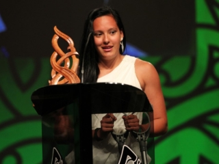 2013 New Zealand sevens and touch representative Tyla Nathan-Wong wins the Junior Maori Sportswoman of the Year award at the Trillian Trust Maori Sports Awards at Vodafone Events Centre, Manukau. Photo: Fiona Goodall/photosport.co.nz