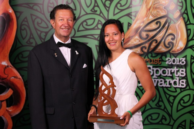 2013 New Zealand sevens and touch representative Tyla Nathan-Wong wins the Junior Maori Sportswoman of the Year award pictured with Trevor Maxwell at the Trillian Trust Maori Sports Awards at Vodafone Events Centre, Manukau. Photo: Fiona Goodall/photosport.co.nz
