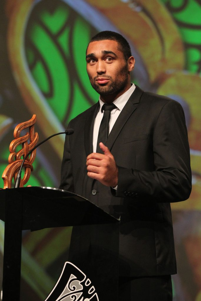 2013 NZU20 All Blacks and Auckland Blues rugby player Joe Edwards wins the Junior Maori Sportsman of the Year award at the Trillian Trust Maori Sports Awards at Vodafone Events Centre, Manukau. Photo: Fiona Goodall/photosport.co.nz