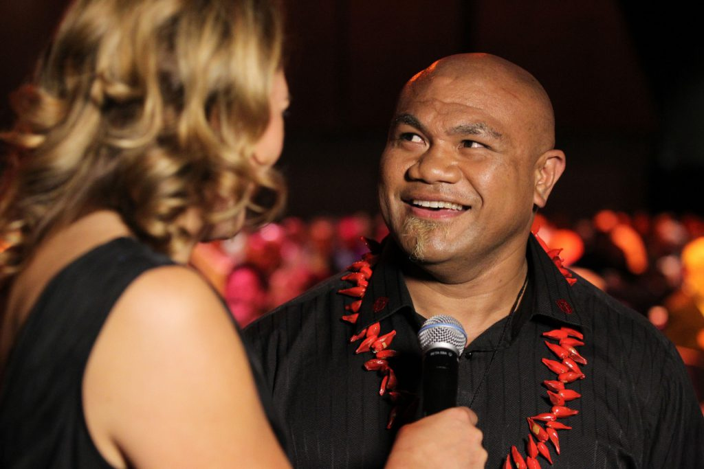 2013 Retired heavyweight boxer David Tua talks to Melody Robinson at the Trillian Trust Maori Sports Awards at Vodafone Events Centre, Manukau. Photo: Fiona Goodall/photosport.co.nz