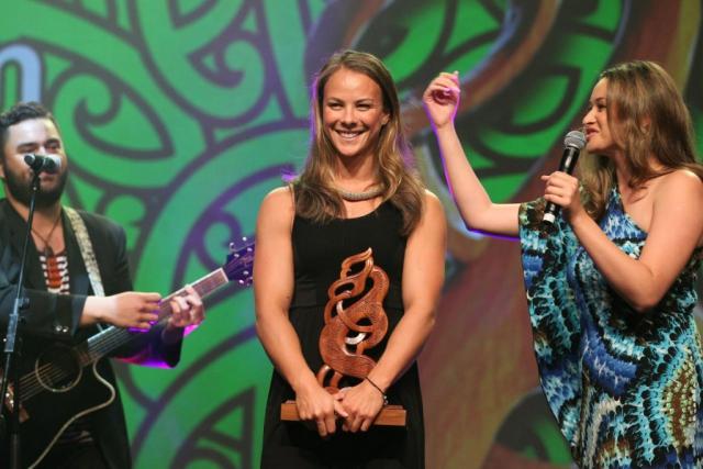 2013 Olympic gold medal winning canoeist Lisa Carrington wins the Maori Sportsperson of the Year and the Senior Maori Sportswoman awards at the Trillian Trust Maori Sports Awards at Vodafone Events Centre, Manukau. Photo: Fiona Goodall/photosport.co.nz