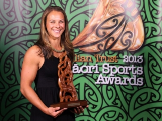 2013 Olympic gold medal winning canoeist Lisa Carrington wins the Maori Sportsperson of the Year and the Senior Maori Sportswoman awards at the Trillian Trust Maori Sports Awards at Vodafone Events Centre, Manukau. Photo: Fiona Goodall/photosport.co.nz