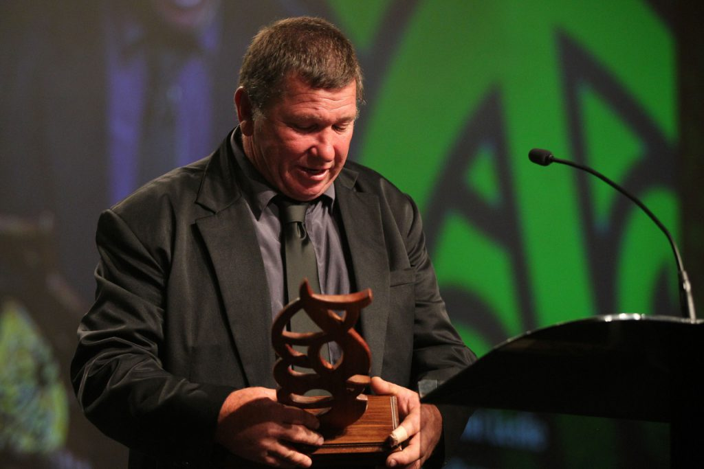 2013  The disabled Maori sports person awarded to Cameron Leslie for swimming and wheelchair rugby accepted by his dad Ross at the Trillian Trust Maori Sports Awards at Vodafone Events Centre, Manukau. Photo: Fiona Goodall/photosport.co.nz
