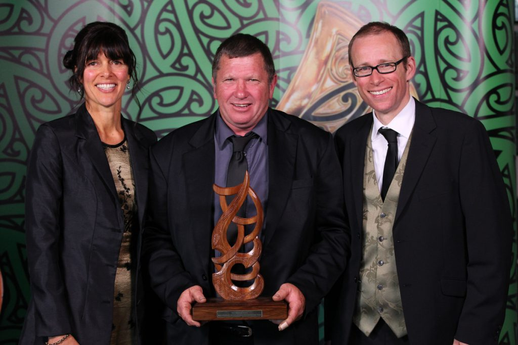 2013  Dr George Laking and Leanne Te Karu present the disabled Maori sports person award to Cameron Leslie for swimming and wheelchair rugby to his dad Ross at the Trillian Trust Maori Sports Awards at Vodafone Events Centre, Manukau. Photo: Fiona Goodall/photosport.co.nz
