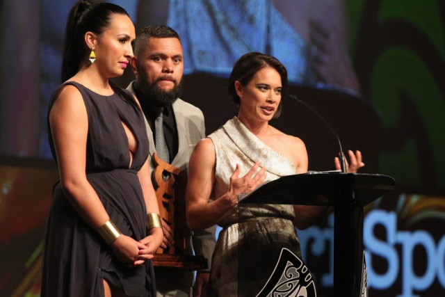 2013  Sports reporters for Te Kaea on Maori television accept the award for best Moari sports media. from left Rahia Timutimu, Tamati Tiananga and RewaHarriman at the Trillian Trust Maori Sports Awards at Vodafone Events Centre, Manukau. Photo: Fiona Goodall/photosport.co.nz