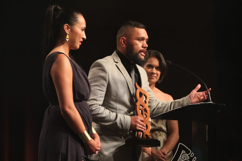2013  Sports reporters for Te Kaea on Maori television accept the award for best Moari sports media. from left Rahia Timutimu, Tamati Tiananga and RewaHarriman at the Trillian Trust Maori Sports Awards at Vodafone Events Centre, Manukau. Photo: Fiona Goodall/photosport.co.nz