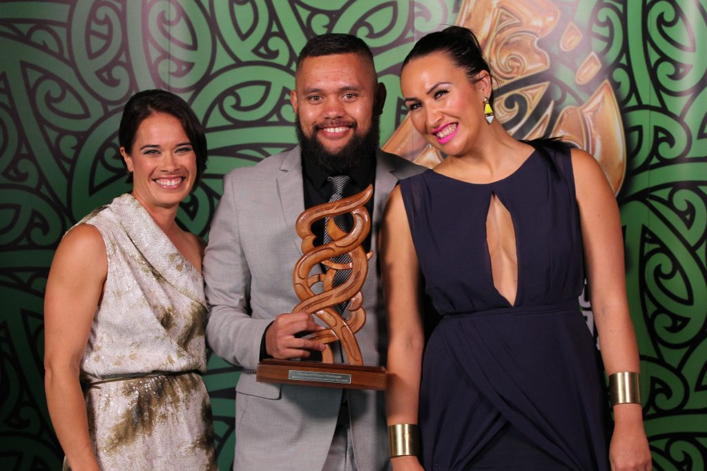 2013  Sports reporters for Te Kaea on Maori television accept the award for best Moari sports media. from left Rahia Timutimu, Tamati Tiananga and Rewa Harriman at the Trillian Trust Maori Sports Awards at Vodafone Events Centre, Manukau. Photo: Fiona Goodall/photosport.co.nz
