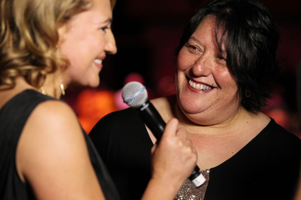 2013  Melody Robinson speaks to world champion powerlifter Sonia Manaena at the Trillian Trust Maori Sports Awards at Vodafone Events Centre, Manukau. Photo: Fiona Goodall/photosport.co.nz