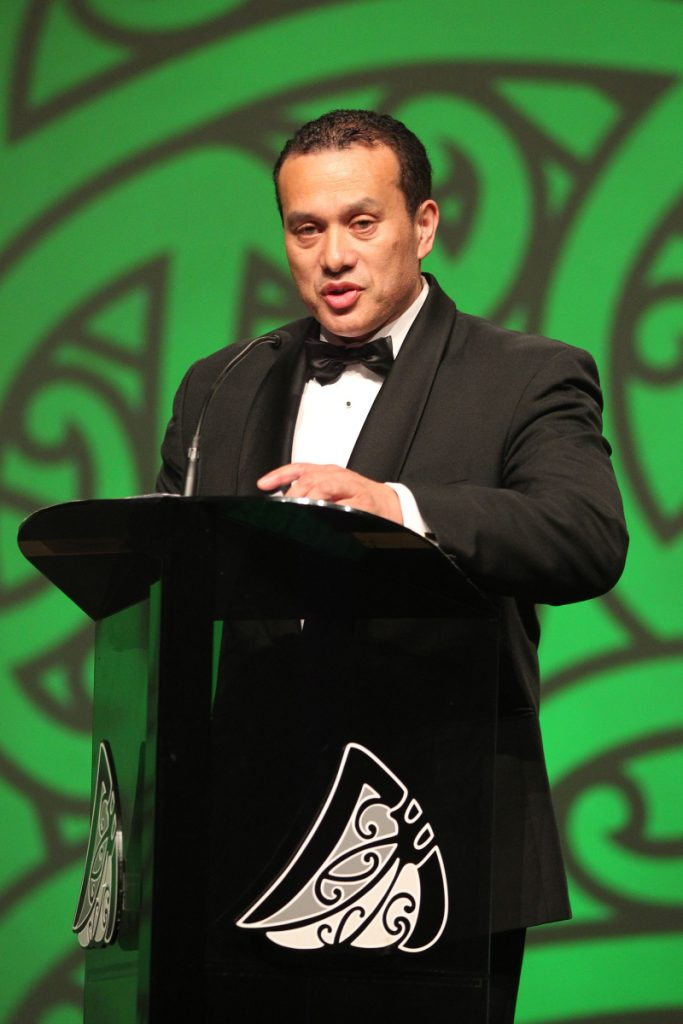 2013  Sam Napia presents a Maori Sports Awards Scholarship at the Trillian Trust Maori Sports Awards at Vodafone Events Centre, Manukau. Photo: Fiona Goodall/photosport.co.nz