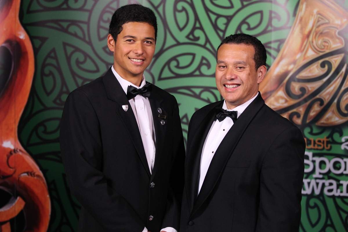 2013  Sam Napia, right presents a Maori Sports Awards Scholarship to squash player Chapman Kutia at the Trillian Trust Maori Sports Awards at Vodafone Events Centre, Manukau. Photo: Fiona Goodall/photosport.co.nz
