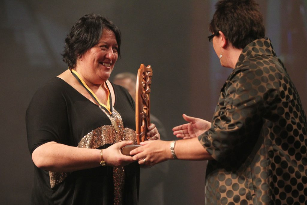 2013  Michelle Hippolite, right presents the individual Maori world champion awards to Sonia Manaena for powerlifting at the Trillian Trust Maori Sports Awards at Vodafone Events Centre, Manukau. Photo: Fiona Goodall/photosport.co.nz