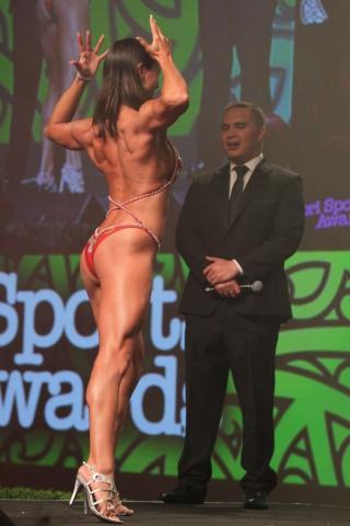 2013  Individual Maori world champion awarded to Teneka Hyndman for pro figure body building at the Trillian Trust Maori Sports Awards at Vodafone Events Centre, Manukau. Photo: Fiona Goodall/photosport.co.nz