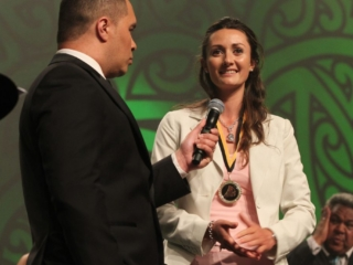 2013 Nancy Te Whata is awarded for her involvement in a world champion team for NZ mounted Games at the Trillian Trust Maori Sports Awards at Vodafone Events Centre, Manukau. Photo: Fiona Goodall/photosport.co.nz