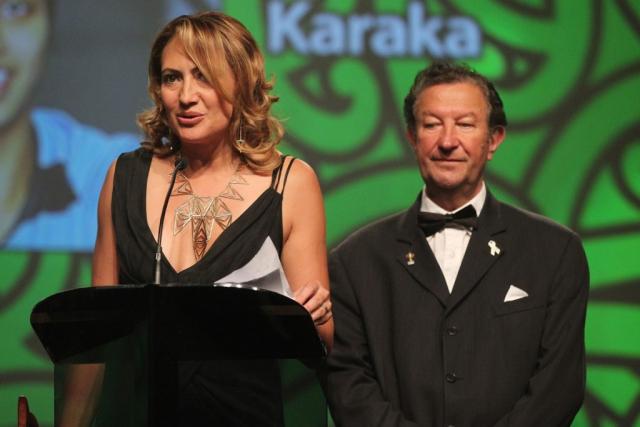 2013  Melody Robinson presents the award for Junior Maori Sportswoman at the Trillian Trust Maori Sports Awards at Vodafone Events Centre, Manukau. Photo: Fiona Goodall/photosport.co.nz