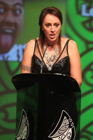 2013  Tania Simpson presents the award for Junior Maori Sportsman at the Trillian Trust Maori Sports Awards at Vodafone Events Centre, Manukau. Photo: Fiona Goodall/photosport.co.nz