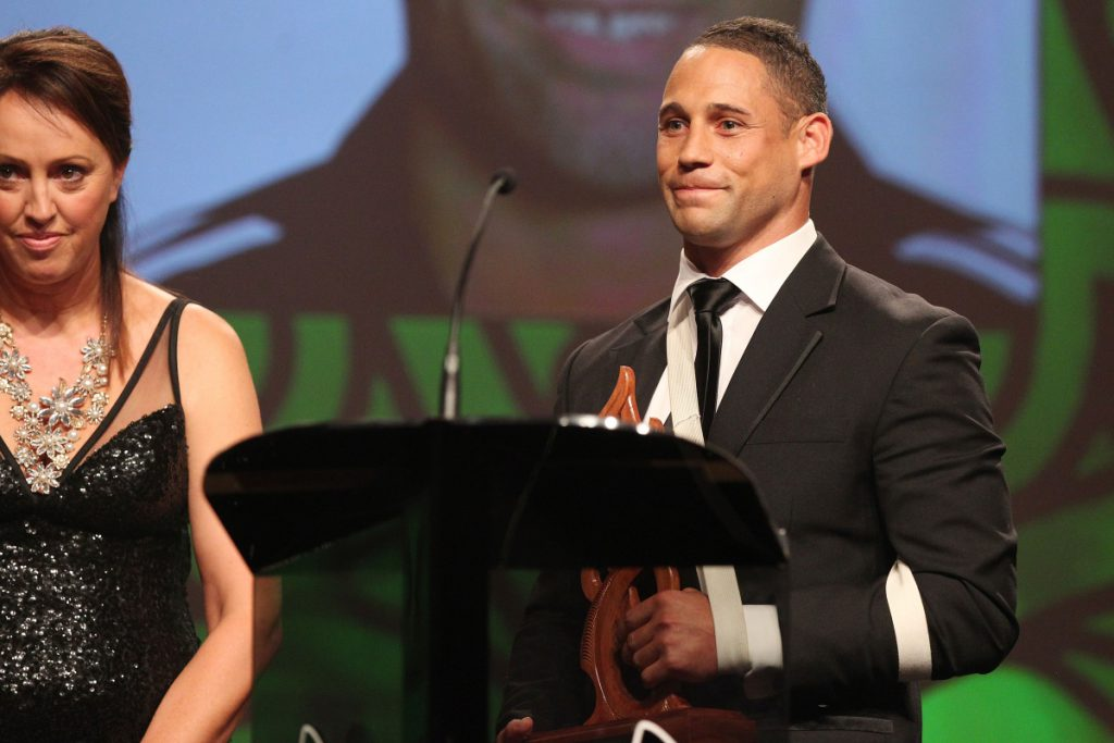 2013  Tania Simpson and Luke McAlister present the award for Junior Maori Sportsman at the Trillian Trust Maori Sports Awards at Vodafone Events Centre, Manukau. Photo: Fiona Goodall/photosport.co.nz