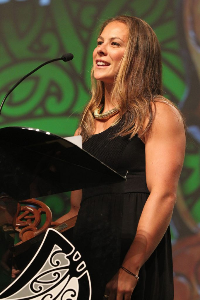 2013  Jenny-May Coffin presents the award for senior Maori sportswoman to Lisa Carrington at the Trillian Trust Maori Sports Awards at Vodafone Events Centre, Manukau. Photo: Fiona Goodall/photosport.co.nz