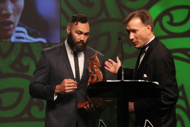 2013  Wairangi Koopu, left and Simon Jones present the award for senior Maori sportsman at the Trillian Trust Maori Sports Awards at Vodafone Events Centre, Manukau. Photo: Fiona Goodall/photosport.co.nz