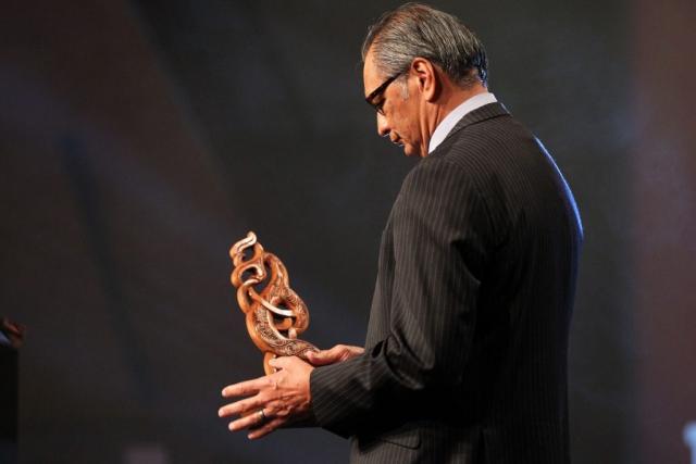 2013  Kevin Pryor presents the Maori Sportsperson of the Year Award at the Trillian Trust Maori Sports Awards at Vodafone Events Centre, Manukau. Photo: Fiona Goodall/photosport.co.nz