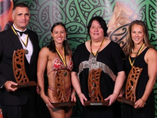 2013 Individual Maori World Champions from left wood chopper Jason Wynyard, pro figure bodybuilder Teneka Hyndman, powerlifter Sonia Manaena and canoeist Lisa Carrington at the Trillian Trust Maori Sports Awards at Vodafone Events Centre, Manukau. Photo: Fiona Goodall/photosport.co.nz
