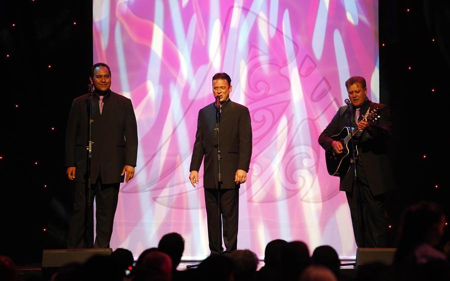 The Howard Morrison Jnr Trio. Trillian Trust 20th Maori Sports Awards, Telstra Clear Events Centre, Manukau, Auckland, Saturday 4 December 2010. Photo: Simon Watts/photosport.co.nz